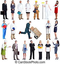 trabajadores, gente, set.