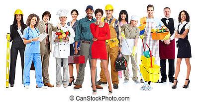 trabajadores, group., gente