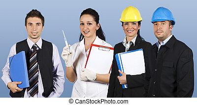 trabajadores, grupo, gente