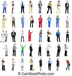 trabajadores, grupo, set., gente