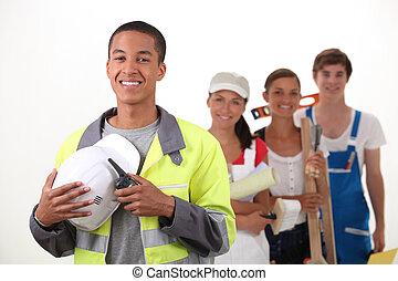 trabajadores, grupo, sonriente