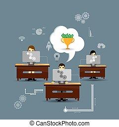 trabajadores, motivación, oficina