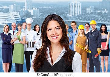 trabajadores, mujer, grupo, personas., empresa / negocio