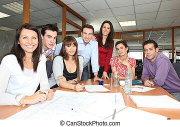 trabajadores, reunión, oficina