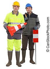 trabajadores, road-side
