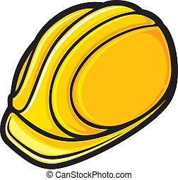 trabajadores, sombrero construcción, duro