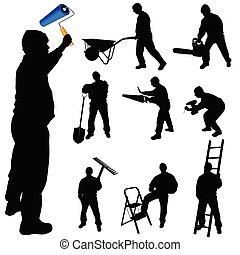 trabajadores, trueques, ilustración, vector, vario, herramientas