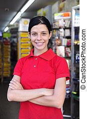 trabajando, adolescente, tiempo, parte, papelería, tienda