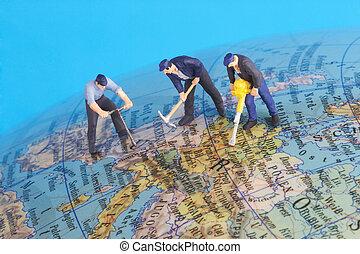 trabajando, alrededor del mundo