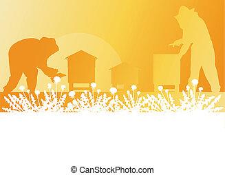 trabajando, apicultor, vector, plano de fondo, abejera, paisaje