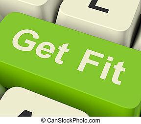 trabajando, ataque, fitnes, actuación, conseguir, llave computadora, ejercicio, afuera