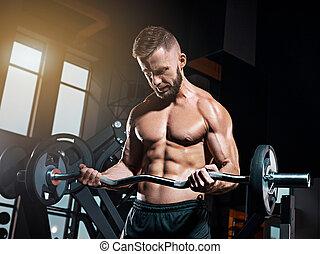 trabajando, ataque, gimnasio, joven, muscular, barra con...