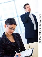 trabajando, businesspeople, oficina