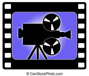 trabajando, cámara, cine