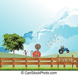 trabajando, campo de la granja, tractor