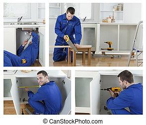 trabajando, carpintero, collage