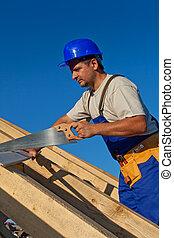 trabajando, carpintero, techo