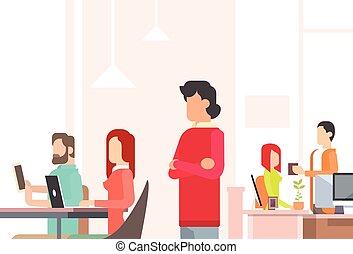 trabajando, centro, espacio de la oficina, gente, coworking...