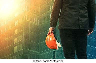 trabajando, civil, sitio, ingeniería, construcción, hombre