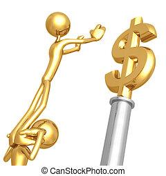 trabajando, dólar, juntos, oro