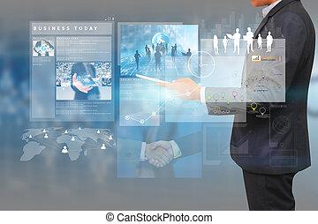 trabajando, empresa / negocio, hombre de negocios, screen., concepto, virtual, technolog
