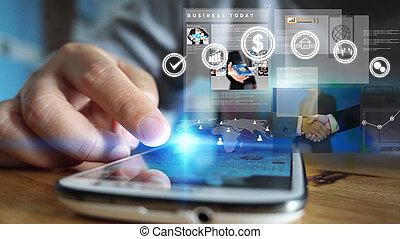 trabajando, empresa / negocio, hombre de negocios, screen., concepto, virtual, tecnología
