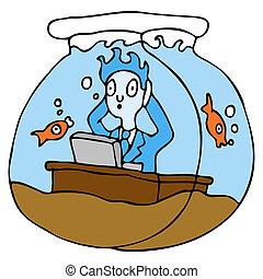 trabajando, en, un, tazón de fuente de los pescados