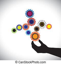 trabajando, esto, juntos, resumen, y, equilibrado, hand(person)., controlado, vector, sistema, balance, crear, ruedas, colorido, gráfico, armonioso, ilustración, ruedas dentadas, trabajo, dónde, representa