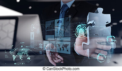 trabajando, exposición, mano, rompecabezas, computadora, interfaz, hombre de negocios
