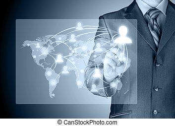 trabajando, exposición, moderno, computadora, nuevo, hombre de negocios