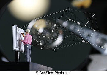 trabajando, grande, harddisk, wirh, diseño, datos, plano de...