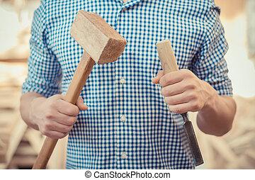 trabajando, herramienta, cincel, carpintero, mano, madera, martillo