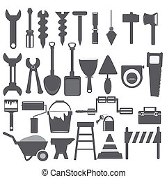 trabajando, herramientas, icono