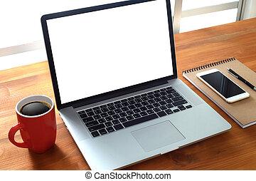 trabajando, hombre de negocios, utilizar, un, computadora de escritorio, de, el, pantalla en blanco