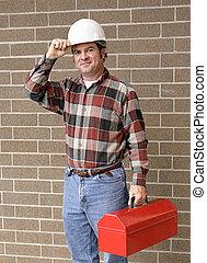 trabajando, hombre, puntas, sombrero