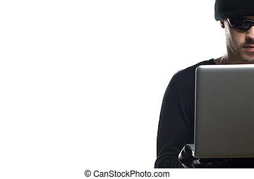 trabajando, hombres, joven, aislado, mientras, computadora, negro, blanco, hacker., sombrero