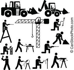 trabajando, ilustración, vector, silhoue