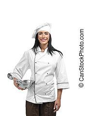 trabajando, instrumentos, mano., chef, tenencia, nuevo, feliz