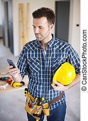 trabajando, móvil, trabajador, teléfono, construcción,...