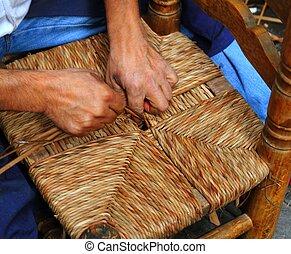 trabajando, manos, handcraft, tradicional, caña, enea, silla...