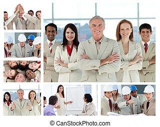 trabajando, oficinacomercial, gente, collage, posar, el gozar