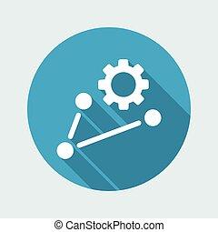 trabajando, red, icono, concepto