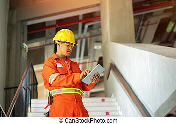 trabajando, sitio trabajo, ingeniero
