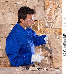 trabajando, stonecutter, albañil, albañilería, martillo, ...