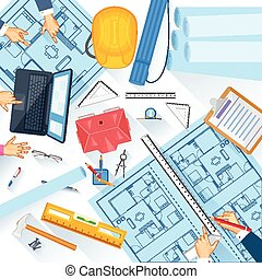 trabajando, tabla, de, arquitecto