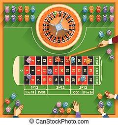 trabajando, tabla, de, casino