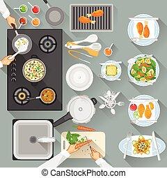 trabajando, tabla, de, chef