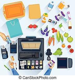 trabajando, tabla, de, compras, efectivo, mostrador