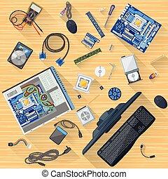 trabajando, tabla, de, computadora, mecánico