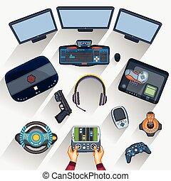 trabajando, tabla, de, gamer